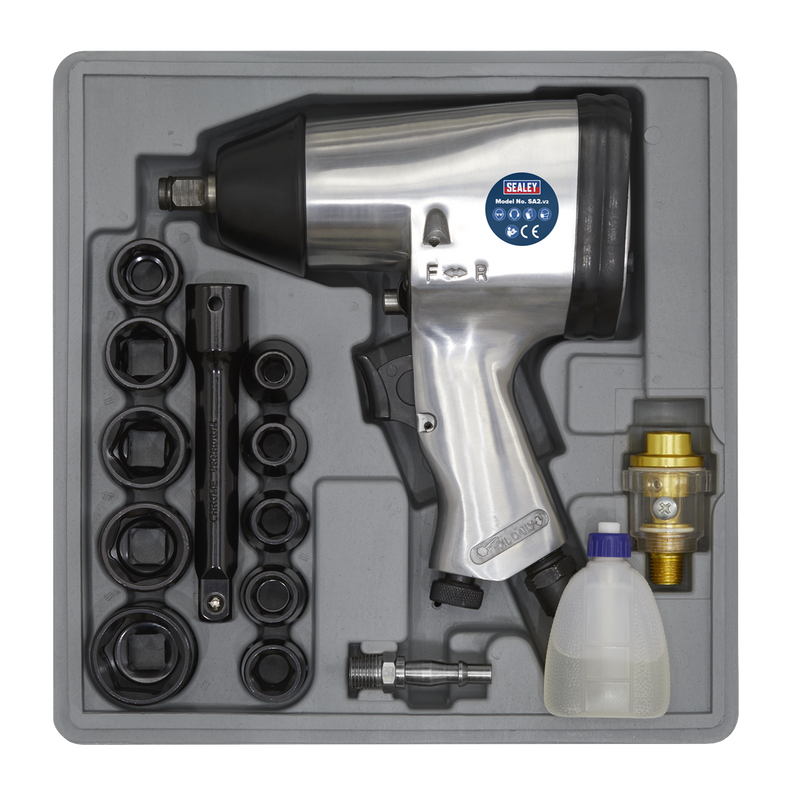 "Air Impact Wrench Kit with Sockets 1/2""Sq Drive"