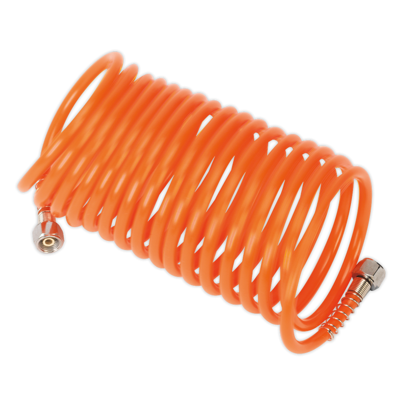"PE Coiled Air Hose 5m x Ø5mm with 1/4""BSP Unions"
