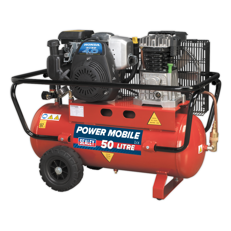 Compressor 50L Belt Drive Petrol Engine 4hp