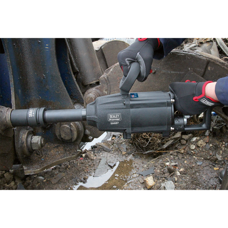 "Air Impact Wrench 1""Sq Drive Twin Hammer Straight Long Anvil"