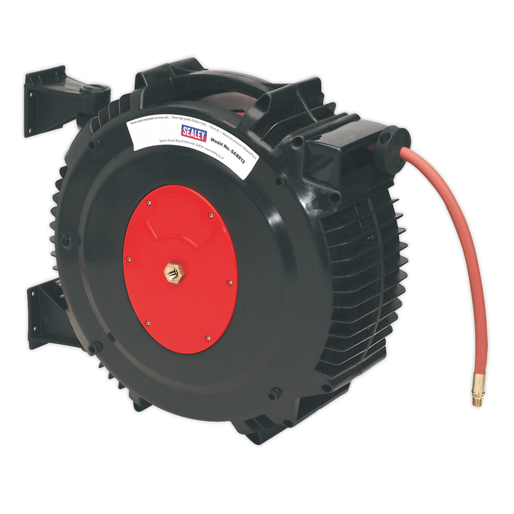 Retractable Air Hose Reel 15m Ø13mm ID Rubber Hose