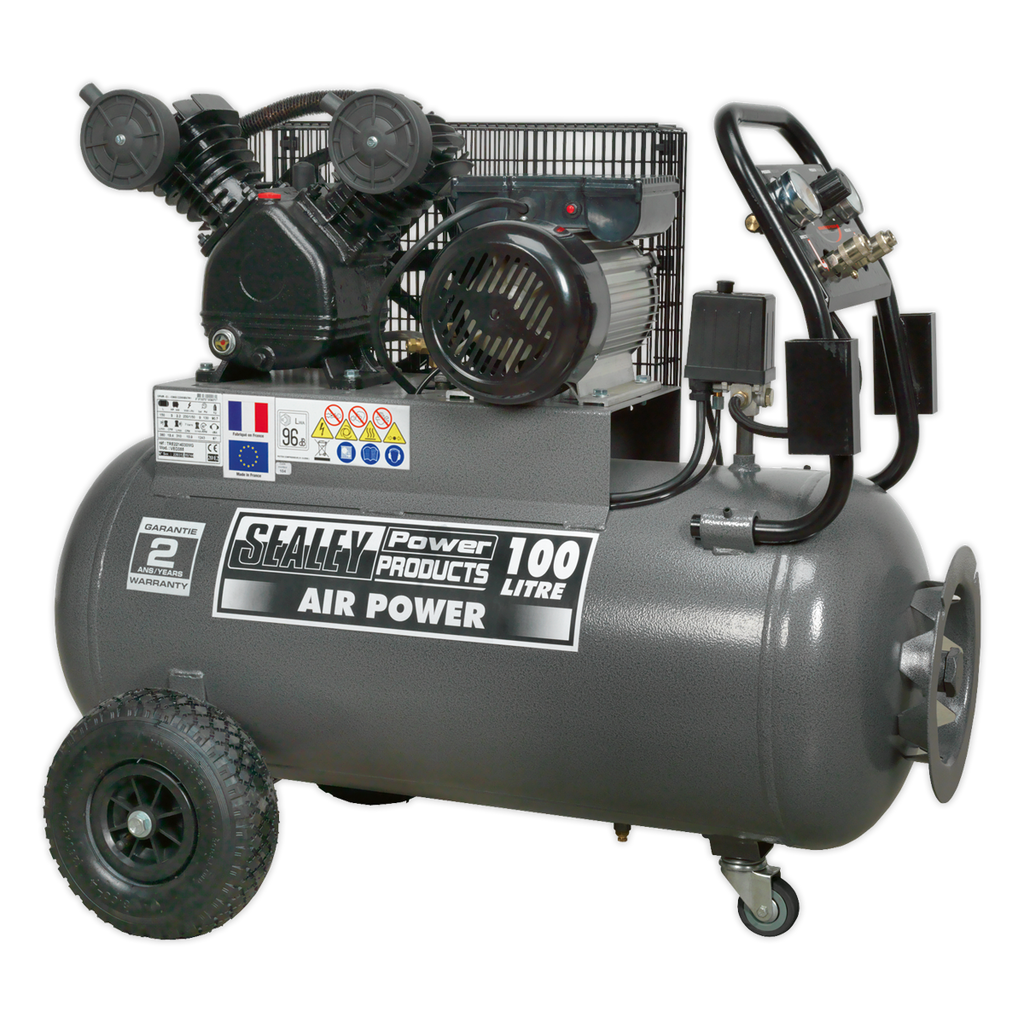 Compressor 100L Belt Drive 3hp with Front Control Panel