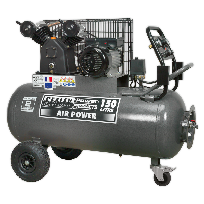 Compressor 150L Belt Drive 3hp with Front Control Panel