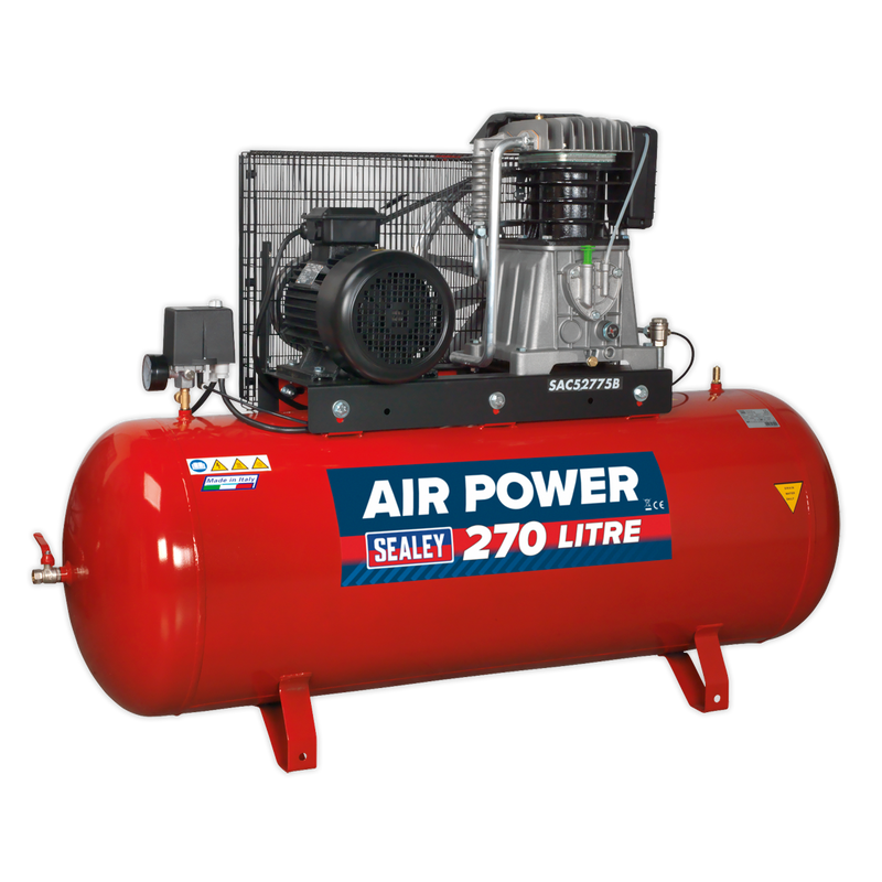 Compressor 270L Belt Drive 7.5hp 3ph 2-Stage with Cast Cylinders