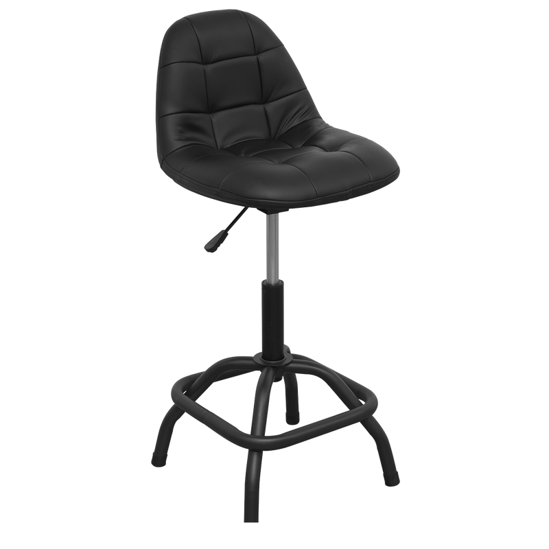 Workshop Stool Pneumatic with Adjustable Height Swivel Seat & Back Rest
