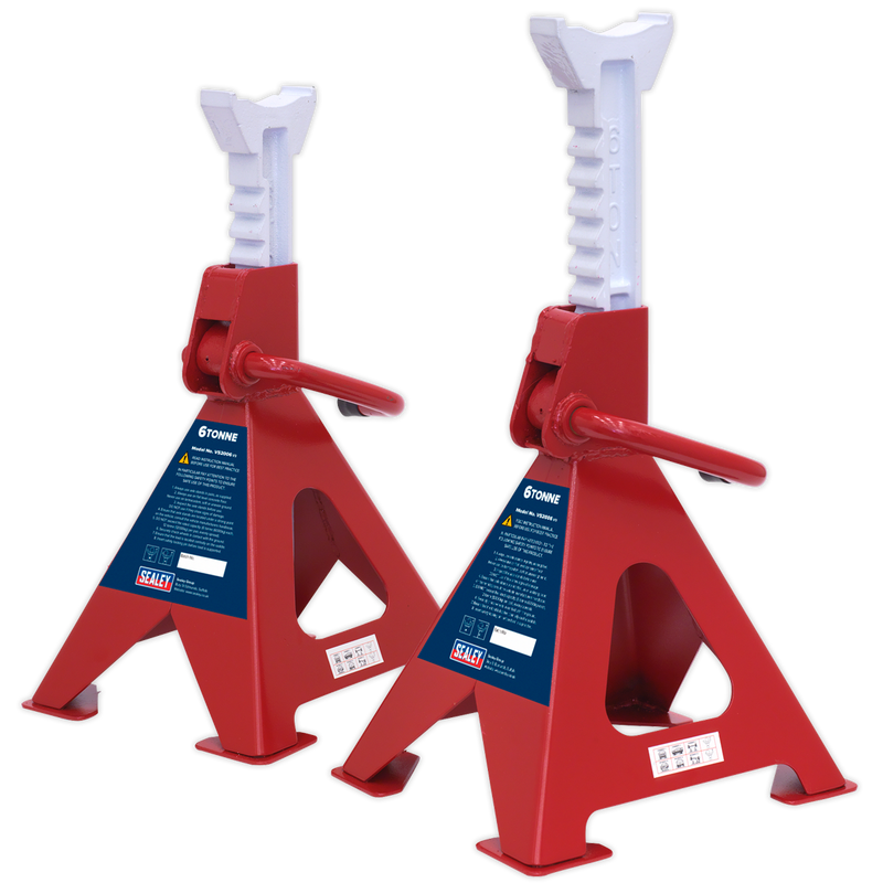 Axle Stands (Pair) 6tonne Capacity per Stand Ratchet Type