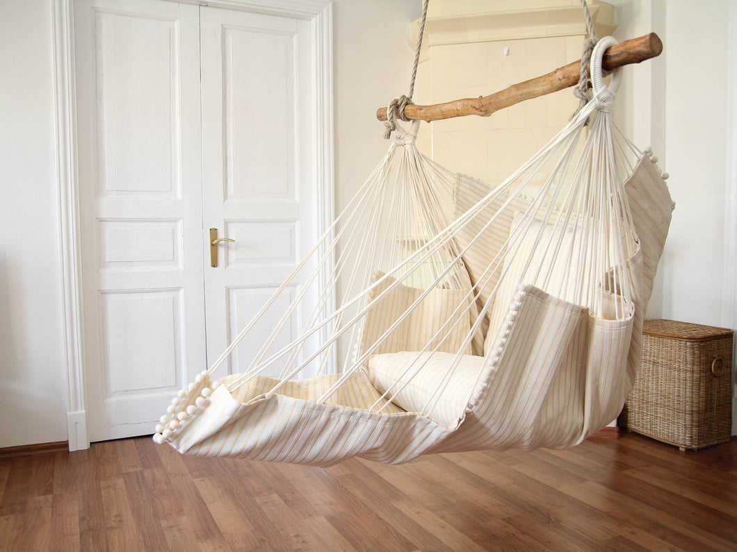 Hammock chair - beige with stripes
