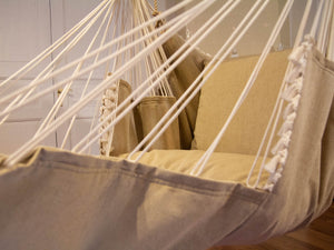Hammock chair beige with pompons