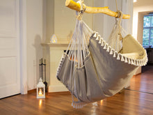 Load image into Gallery viewer, Hammock chair beige with fringe