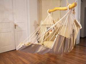 Hammock chair beige with fringe