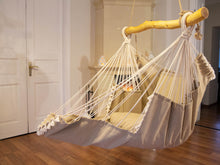 Load image into Gallery viewer, Hammock chair beige with pompons