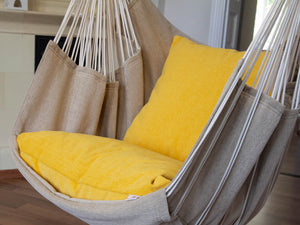 Hammock chair beige/yellow pillow