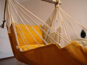 Hammock chair - yellow & white