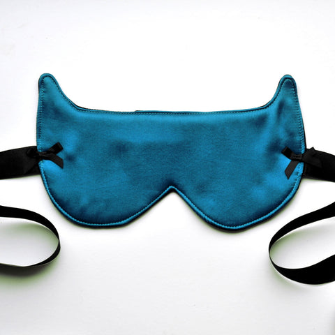 Peachy Keen Eyemask Blindfold in Peacock Blue Silk
