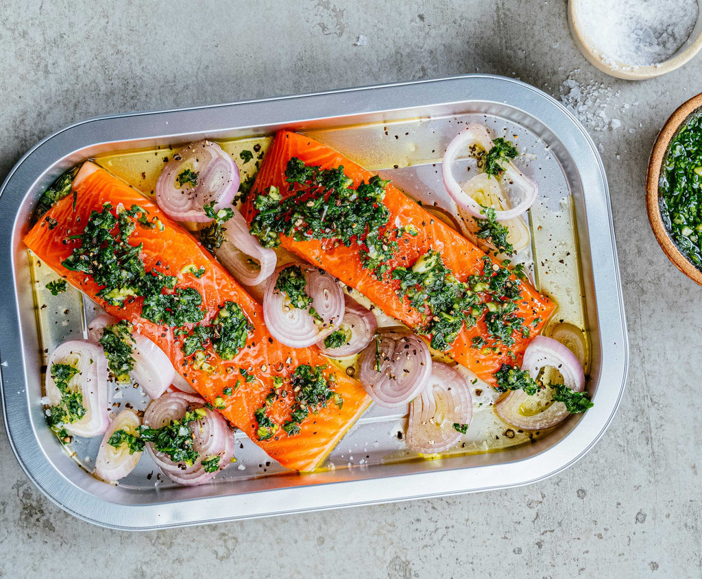 Roasted Skye Steelhead With Chimichurri Sauce