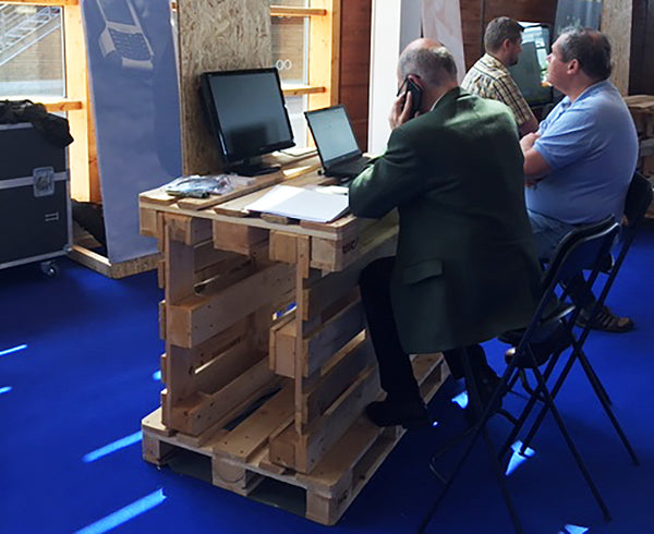 Timber pallet being used as a desk