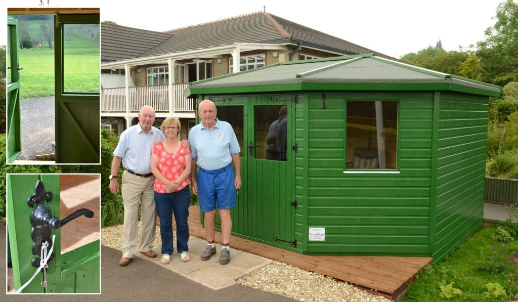 Members of Wells Golf Club outside the finished golf hut