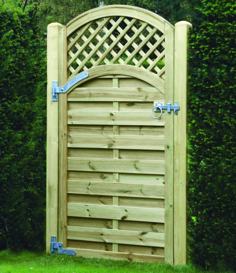 Arched lattice timber gate