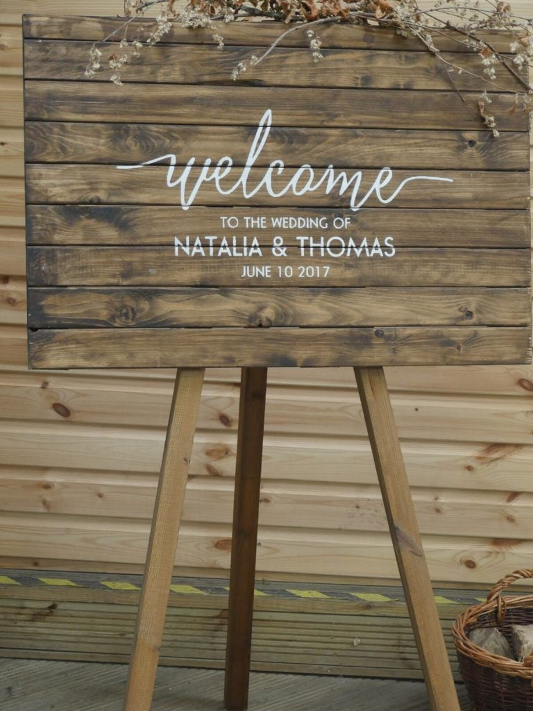 Entrance Sign with welcome to wedding message