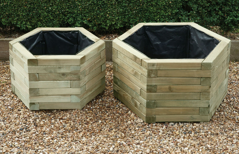 Set Of Two Hexagonal Planters