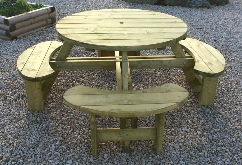 Standard Softwood Round Garden Picnic Table
