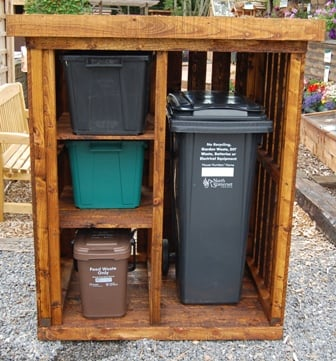 Wooden wheelie and recycling bin store