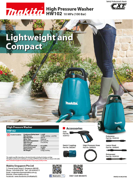 Makita HW102 High Pressure Washer AC 100Bar