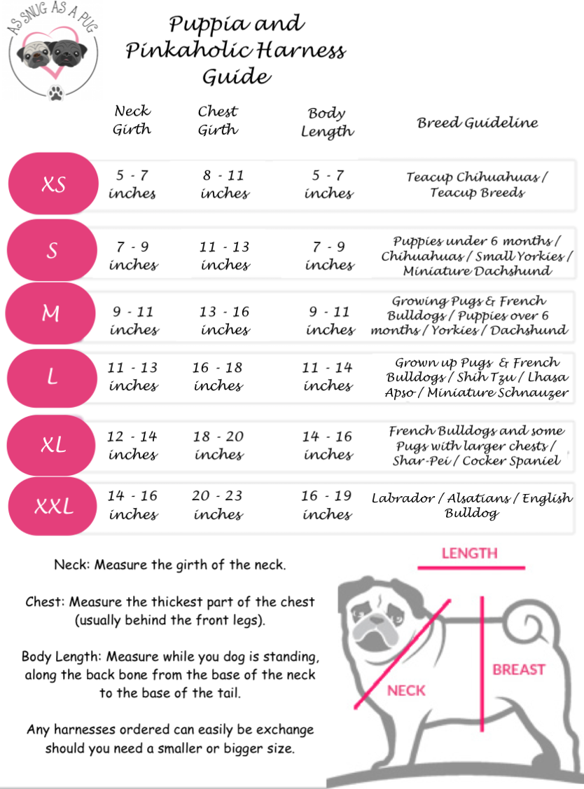 Harness Size Chart | Puppia Harnesses and Pinkaholic Harnesses