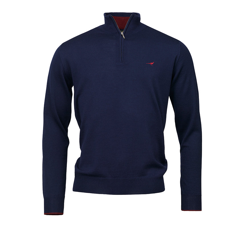 Norfolk zip sweater - navy