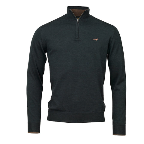 Norfolk zip sweater - pine