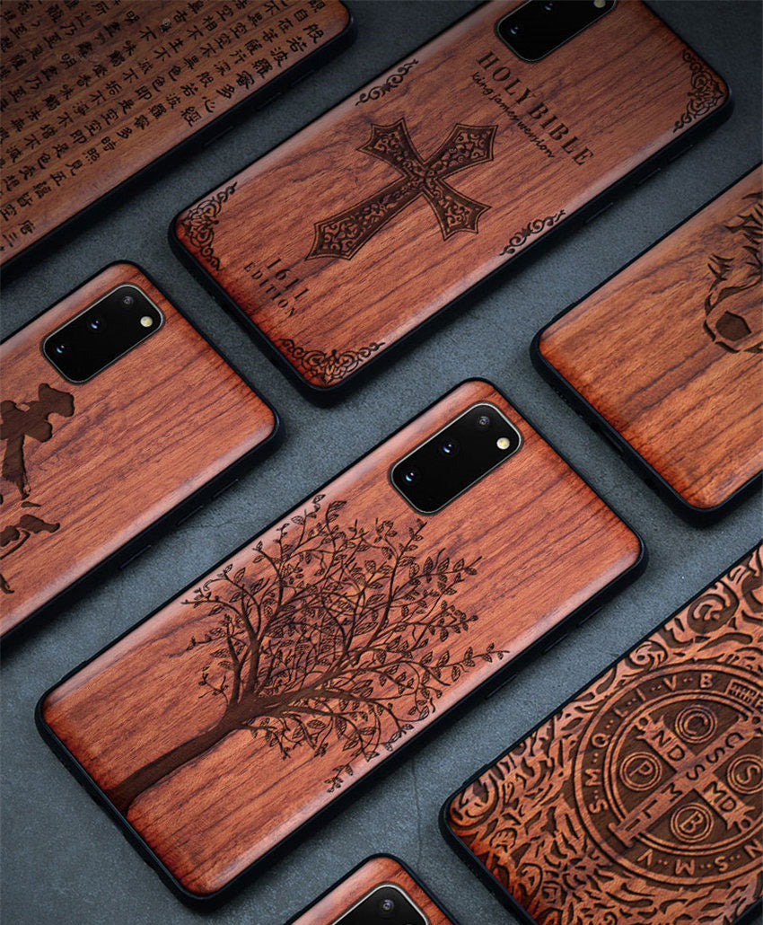 Carved Skull Elephant Wood Phone Case For Samsung Galaxy s20 s10 s10+ note 10 plus Samsung s20 ultra Silicon Wooden Case Cover