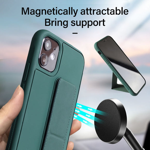 Luxury Silicone Car Magnetic Holder Leather Fold Stand Shockproof Case For iPhone 11 Series