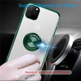 Luxury Soft Silicone Magnetic Case with Finger Ring Holder For iPhone 11 Series