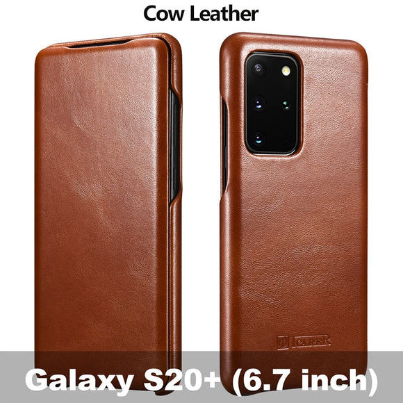Genuine Leather Flip Heavy Duty Protection Phone Cover Case for Samsung Galaxy S20 Series