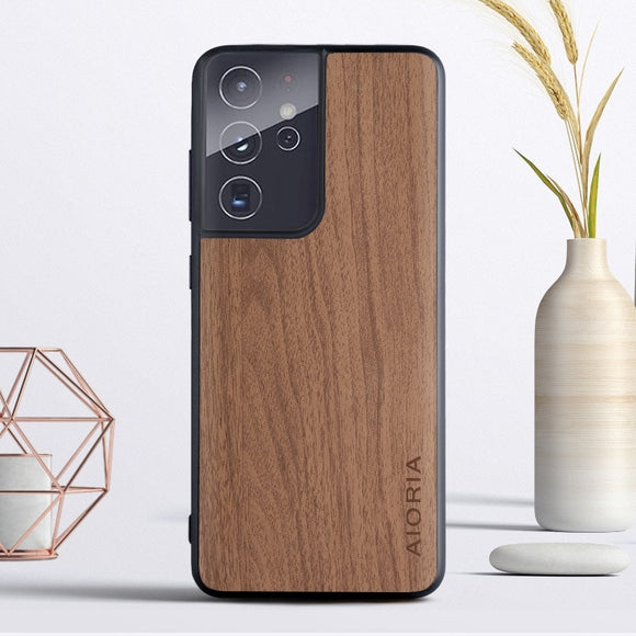 Wood Texture PU Leather Soft Cover Case for Samsung Galaxy S21 S20 Note 20 Series