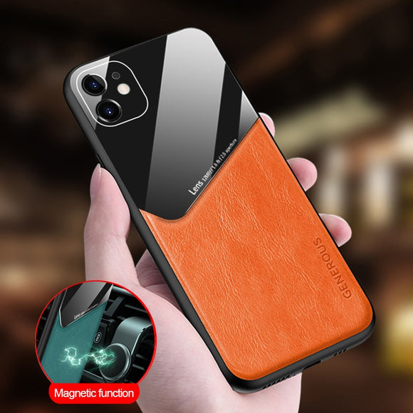 Luxury Glass Leather Car Magnetic Soft Edge Full Protection Back Cover Case For iPhone 11 Series