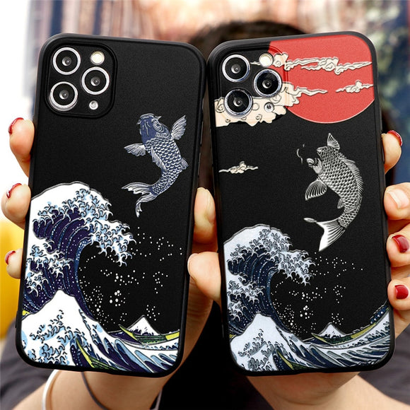 Luxury 3D Art Cartoon Emboss Relief TPU Cover Phone Case For iPhone 12 Series