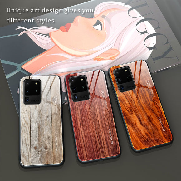 Tempered Glass Wooden Marble Pattern Soft Silicone Case for Samsung S20 Series