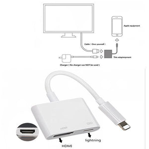 Lighting to HDMI Digital AV Adapter Cable For iPhone to HD TV