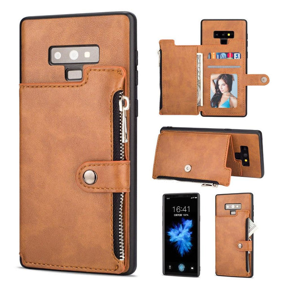 Luxury Zipper Card Slot Flip Case for Coque Note 9 Note 8 S9 S9 Plus