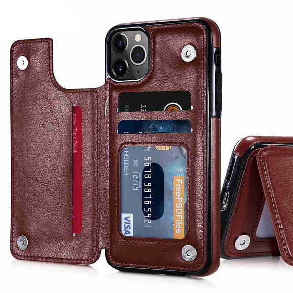 Retro Leather Multi Card Holder Wallet Case For iPhone 12 Series