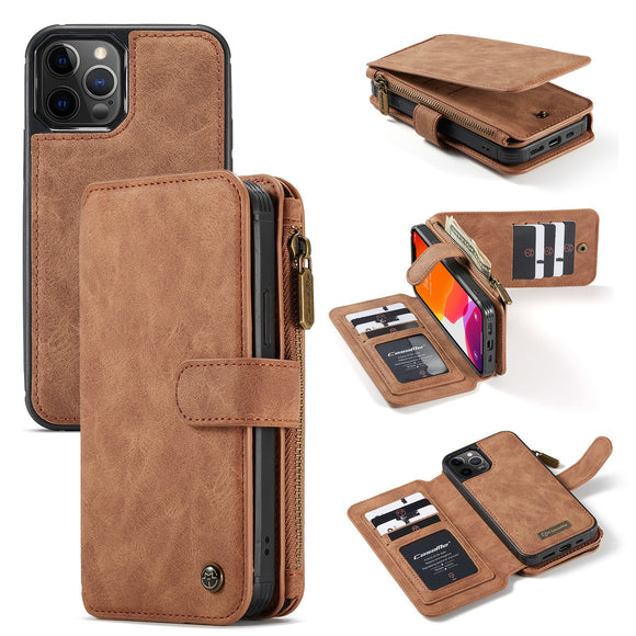 Luxury Fashion Multi-functional Leather Zipper Flip Wallet Case For iPhone 12 Series