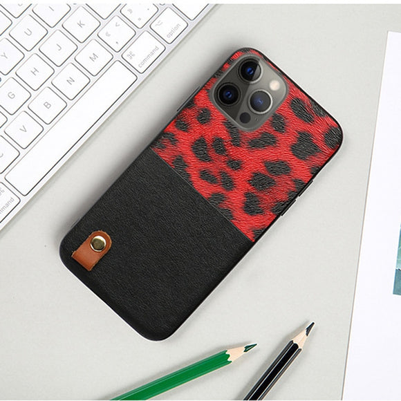 Leopard Pattern Stitching Leather Shockproof Soft Case for iPhone 12 & 11 Series