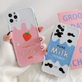 Cute Fruit Strawberry Drink Milk Korean Soft Silicone Case For iPhone 11 Series