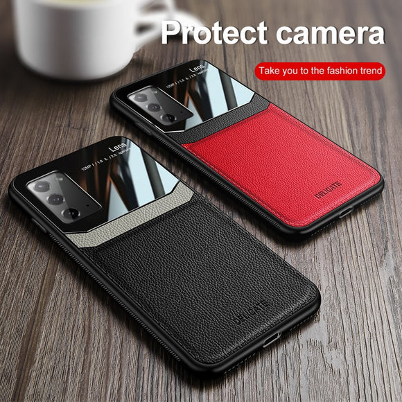 Leather Mirror PlexiGlass Case for Samsung Galaxy Note 20 Series
