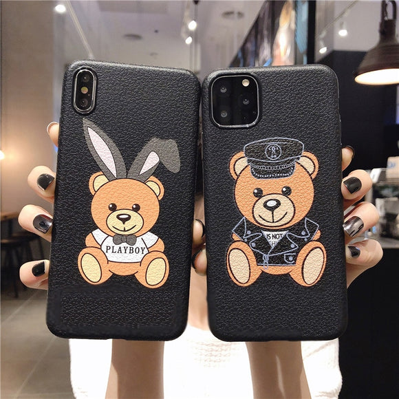 Leather Pattern Bear Soft TPU Silicone Case For iPhone 12 11 Series