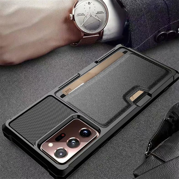 Magnetic Leather Skin Card Pocket Bag Plain Matte Black Protection Case for Samsung Galaxy S20 & Note 20 Series
