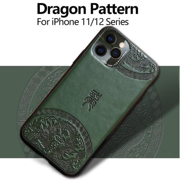 High Quality Dragon Pattern Leather Case for iPhone 12 11 Series
