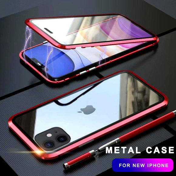 360 Metal Case Magnetic Luxury Shockproof Tempered Glass Cover For iPhone 11 Pro Max