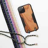 Solid Wood Crossbody Shoulder Strap Full Cover Lanyard Case for iPhone 12 & 11 Series